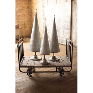 Gi Galvanized Topiaries With Brass Detail Set of 3