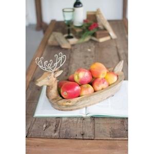 Hand Carved Mango Wood Reindeer Bowl With Metal Lers