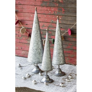 Zinc Topiaries With Beaded Brass Detail Set of 3