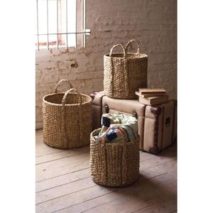 Round Braided Seagrass Storage Basket With Handles Set of 3