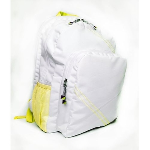 Sailcloth Cabana Backpack, White with Yellow