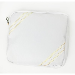 Sailcloth Cabana Accessory Pouch, White with Yellow