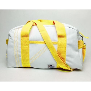 Sailcloth Cabana Small Duffel, White with Yellow
