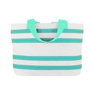Sailcloth Cabana Medium Striped Tote, White with Aqua Stripes