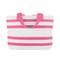 Sailcloth Cabana Medium Striped Tote, White with Pink Stripes