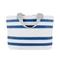 Sailcloth Nautical Stripe Medium Tote, White with Blue Stripes