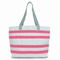 Sailcloth Cabana Large Striped Tote, White with Pink Stripes