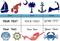 Sailcloth Tri-Sail Rolling Travel Duffel, Red, White, Blue