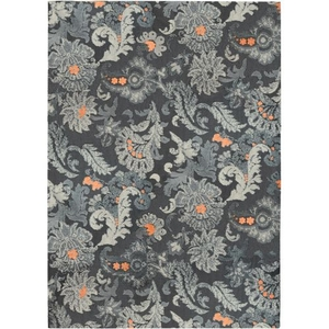 Gray Flannel Floral Indoor Microfiber Area Rug, 3 X 5 Ft.