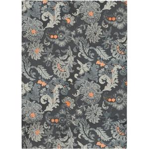 Gray Flannel Floral Indoor Microfiber Area Rug, 8 X 10 Ft.