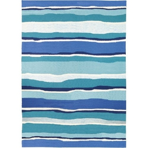 Sea Breeze Blues Indoor Outdoor Hand Hooked Area Rug, 3 X 5 Ft.