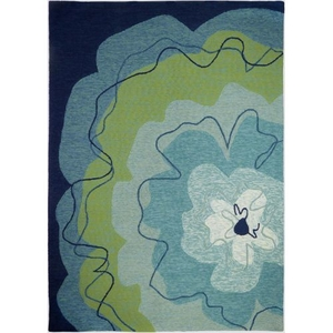 Watercolor Blue Blossom Indoor Outdoor Hand Hooked Area Rug, 5 X 7 Ft.