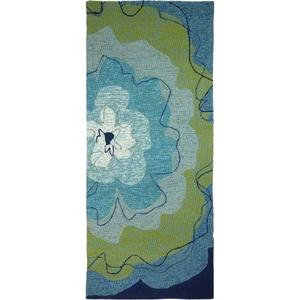 Watercolor Blue Blossom Indoor Outdoor Hand Hooked Rug, 26 X 60 Runner