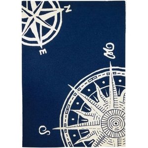 Sailors Compass Indoor Outdoor Hand Hooked Area Rug, 5 X 7 Ft.