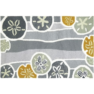 Beachcomber - Neutral Indoor Outdoor Hand Hooked Area Rug, 22 X 34 In.