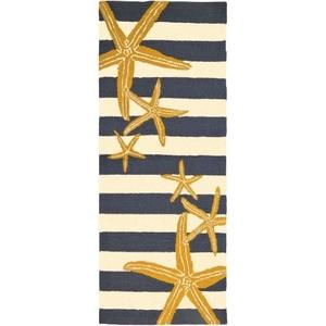 Starfish Gunmetal and Gold Indoor Outdoor Hand Hooked Rug, 26 X 60 Runner