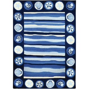 Coastal Stripes And Shells Indoor Outdoor Hand Hooked Area Rug, 3 X 5 Ft.
