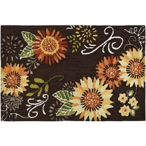 Sunflower On Brown Indoor Accent Rug 22 x 34 In.