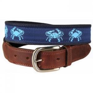 Blue Crab Leather Tab Belt