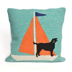 Sailing Dog Orange Indoor Outdoor Pillow