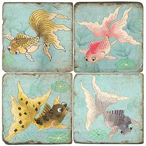 Goldfish Ii Marble Coasters Set Of 4