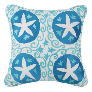 Four Sand Dollars Embroidered Pillow