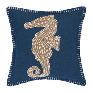 Seahorse Embroidered Pillow