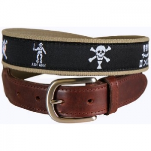Pirate Flags Leather Tab Belt