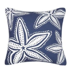 Navy Starfish Print Pillow