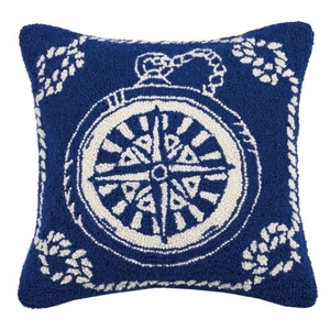 Compass Nautical Hook Pillow 16X16 in.