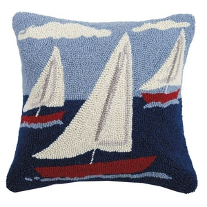 Sail Boat Trio Hook Pillow 16X16 in.