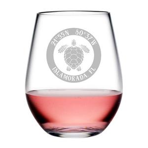 Custom Coordinates Sea Turtle Acrylic Stemless Wine Glasses S/4