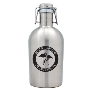 Custom Coordinates Flamingo Stainless Steel Beer Growler