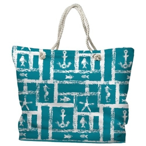Ocean Squares Tote Bag with Nautical Rope Handles