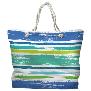 Coastal Lines Tote Bag with Nautical Rope Handles