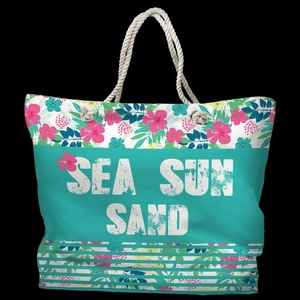 Sea Sun Sand Tote Bag with Nautical Rope Handles