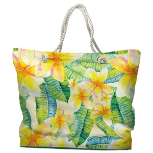 Plumeria Tote Bag with Nautical Rope Handles