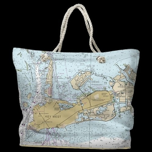 FL: Key West, FL Water-Repellent Nautical Chart Tote Bag