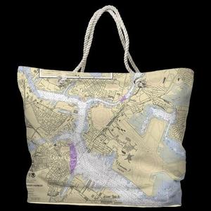MA: Boston, MA Water-Repellent Nautical Chart Tote Bag