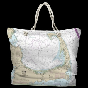 MA: Cape Cod, MA Water-Repellent Nautical Chart Tote Bag