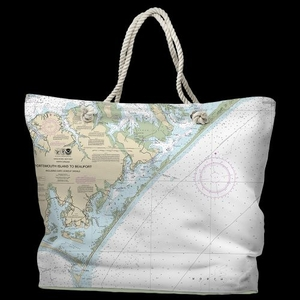 NC: Portsmouth Island to Beaufort, NC Water-Repellent Nautical Chart Tote Bag