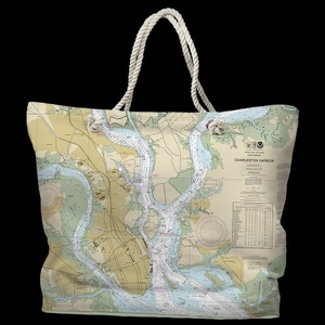 SC: Charleston, SC Water-Repellent Nautical Chart Tote Bag