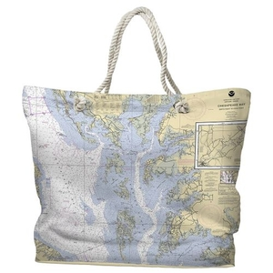 MD-VA: Chesapeake Bay, MD-VA Water-Repellent Nautical Chart Tote Bag