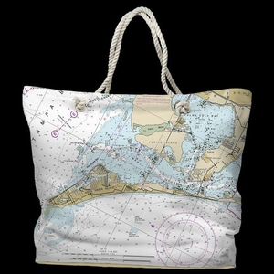 FL: Anna Maria Island, FL Water-Repellent Nautical Chart Tote Bag