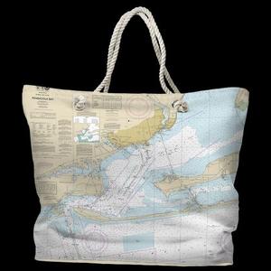 FL: Pensacola Bay, FL Water-Repellent Nautical Chart Tote Bag