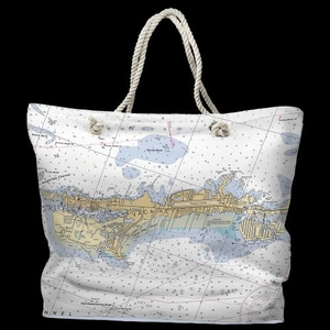 FL: Vaca Key Marathon, FL Water-Repellent Nautical Chart Tote Bag