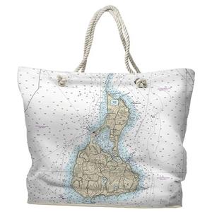 RI: Block Island, RI Water-Repellent Nautical Chart Tote Bag