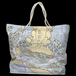 NC: Beaufort, NC Water-Repellent Nautical Chart Tote Bag