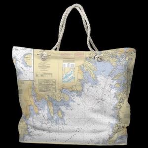 MA: Buzzards Bay, MA Water-Repellent Nautical Chart Tote Bag