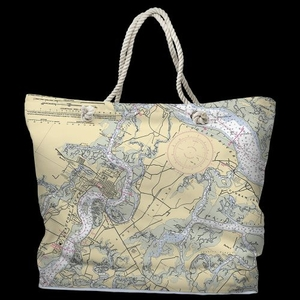 SC: Beaufort & Ladys Island, SC Water-Repellent Nautical Chart Tote Bag